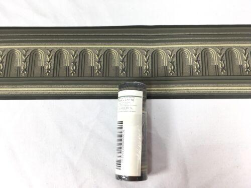 "Gramercy Wallpaper Border Green Grey Sage Architectural Arch Roman 4.25"""
