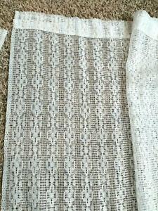 3-White-Geometric-Pattern-Lace-Rod-Pocket-Window-Curtain-Panels-41x62