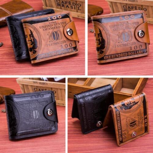 US $100 Dollar Bill Wallet Leather Bifold Credit Card Photo Holder KV