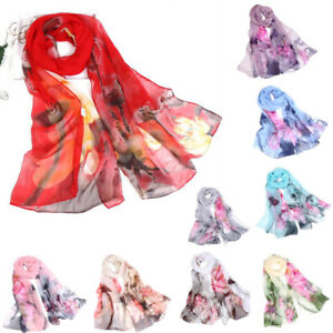 Fashion-Women-Lotus-Printing-Long-Soft-Georgette-Wrap-Scarf-Ladies-Shawl-Scarves