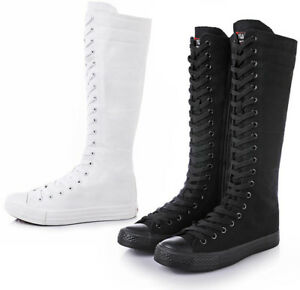 Details about Womens Girls Lace Up Canvas Knee High Sneakers Zip Boots Punk Gothic Shoes zhou8