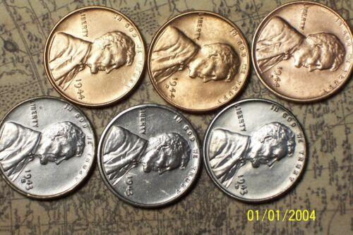 "1943//44--P,D,S @  /""Super High Grade/"" 6 Lincoln Pennys"