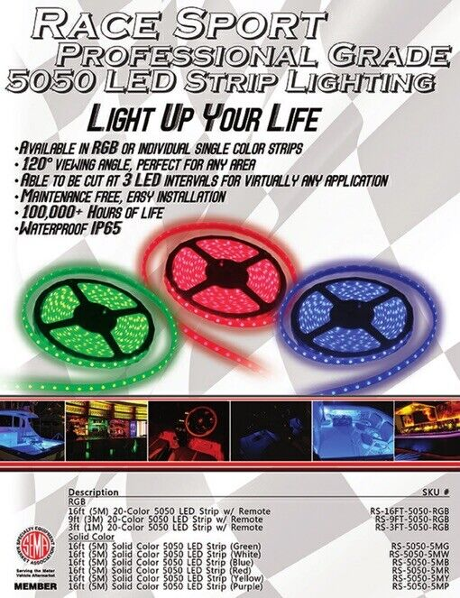 PODS  **NEW** BLUE LED 9FT Light Strip Race Sport RS-POD5050-9FT-B