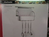 Chefmate 11 Piece Stainless Steel Shelf Kitchentool Holder And Tools