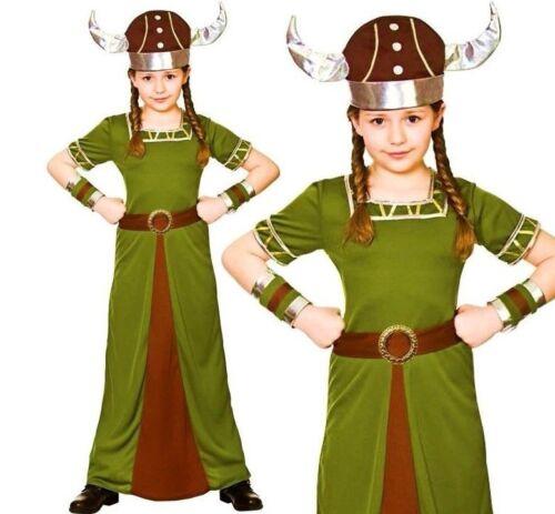 Enfant Viking Princess Fancy Dress Costume Nordique Filles Saxon Valkyrie 5-7ys Kids