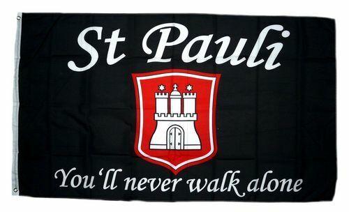 Fahne Pauli You´ll never walk alone 90 x 150 cm Flagge St
