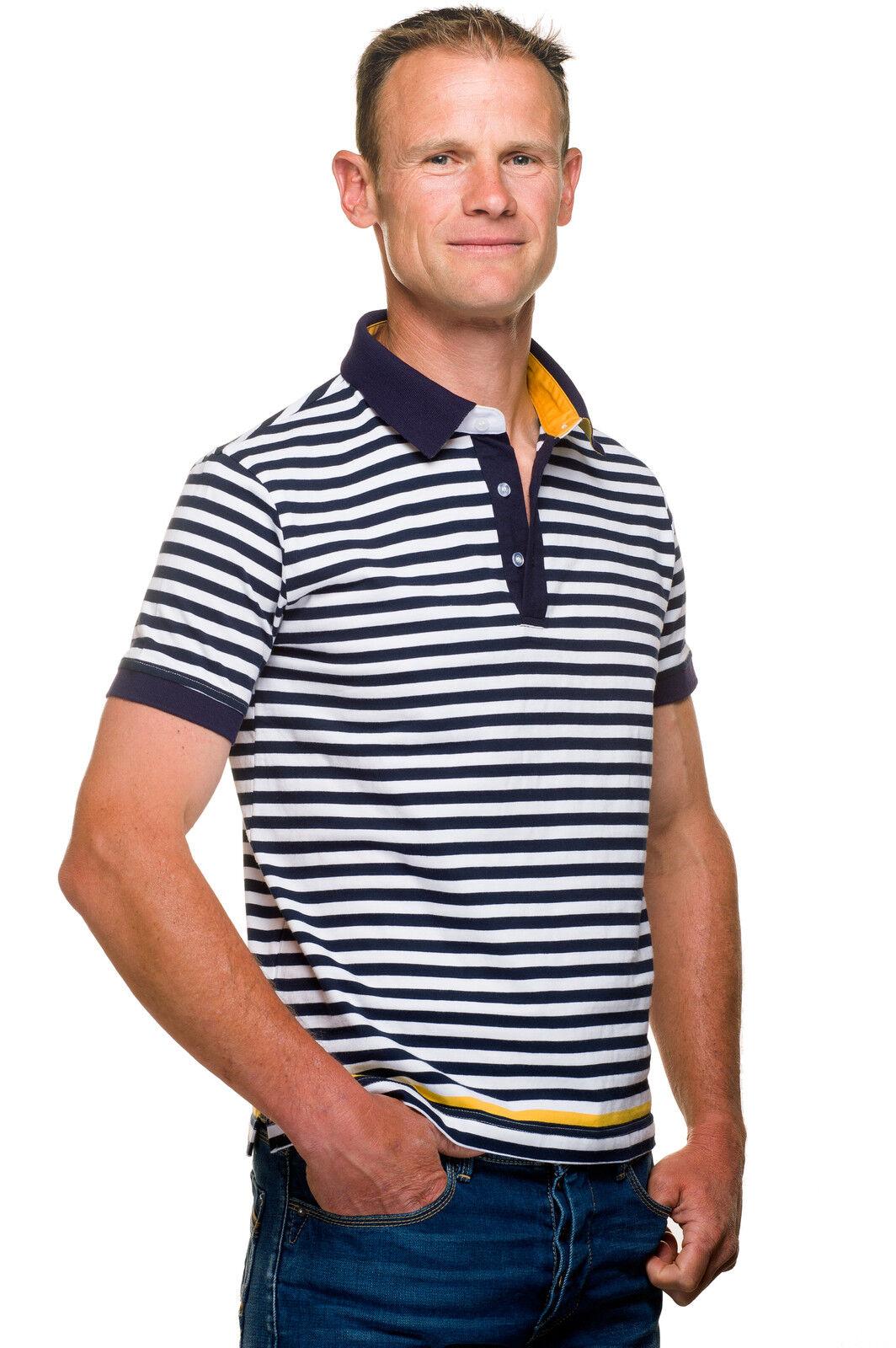 Ugholin Herren Poloshirt Gestreiftes Marine Baumwolle Polohemd Kurzarm