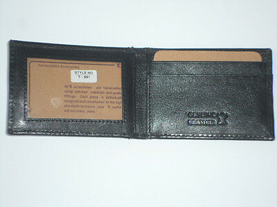 YAALI MENS WALLET BLACK MONEY CLIP ID CREDIT CARD HOLDER REAL GENUINE LEATHER
