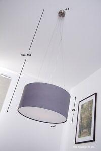 Lampada a sospensione Design Tessuto Metallo Lampadario da ...