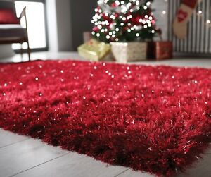 Modern Red Silver Cosy Shaggy Rugs Soft