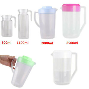 1 Pc Plastic Ribbed Water Pitcher Jug Bottle with Lid Handle for Juice Water Tea