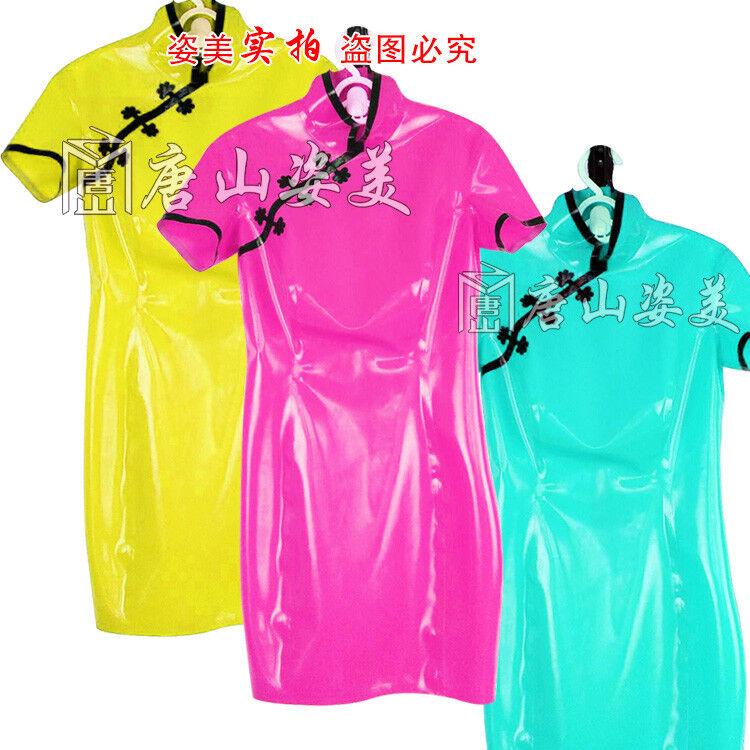 100% Latex Rubber Gummi 0.45mm Dress Skirt Skirt Skirt Catsuit Suit Cheongsam Fashion Party fe97ab
