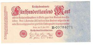 AV-VD-Reichsbanknote-1923-500-000-Mark-Ro-91a-Serie-B-kassenfrisch-132