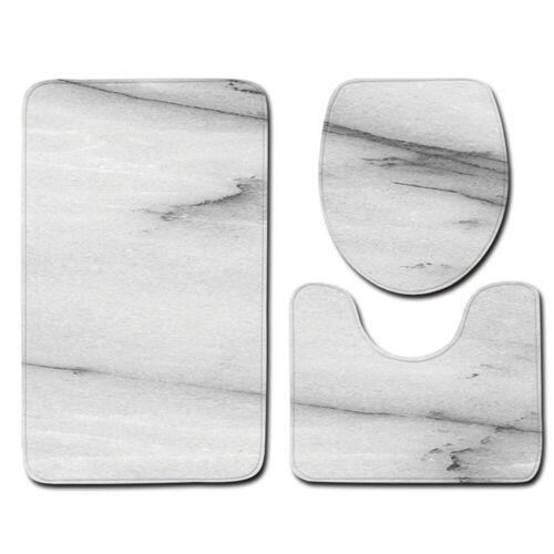 Marble Pattern Toilet Seat Lid Cover Bathroom Mat Set Pedestal Rug Bath Mat USA
