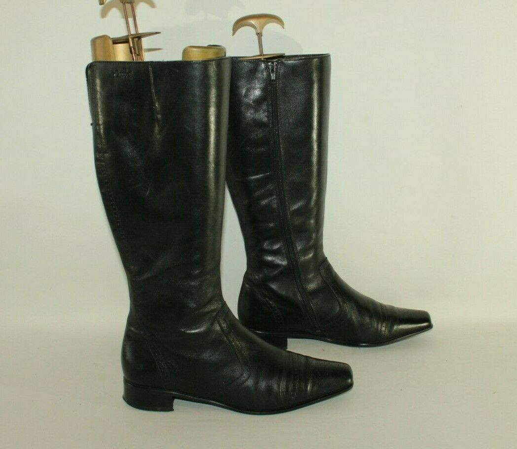 Black Leather CAPRICE Zip Pointed Brogue Low Heel Mid Calf Boots Size 6.5   39.5