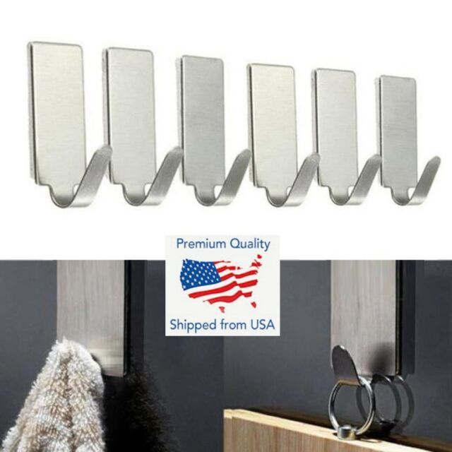 6X Self Adhesive Stainless Steel Strong Sticky Wall Stick On Door Hanging Hooks