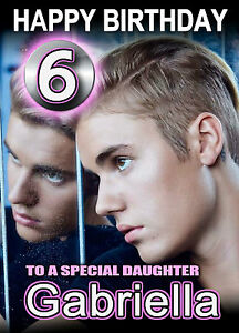 justin bieber birthday card any name age relative personalised a, Birthday card