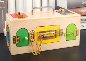PJ Montessori Colorful Lock Box Kids Toys, Children Educational Preschool Traini