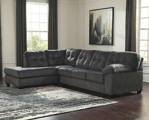 Sectional Sofa In Granite Gray Fabric