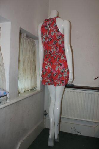 Oasis Coral Orange Floral Halterneck Sleeveless Short Jumpsuit Playsuit Top 6-18