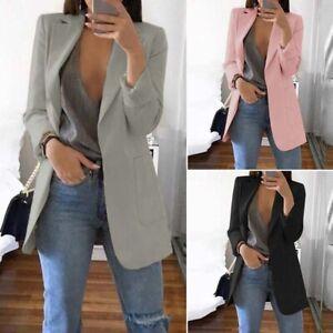 Mode-Femme-Blazer-Decontracte-lache-Simple-Manche-Longue-Poche-Longue-Manteau-Pl