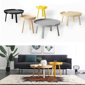 Details About Retro Scandi Round Storage Coffee Table Wood Low Living Room Side End Tea Tables