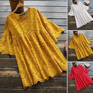 ZANZEA-8-24-Women-Bell-Sleeve-Eyelets-Floral-Top-Tee-T-Shirt-Plus-Size-Blouse