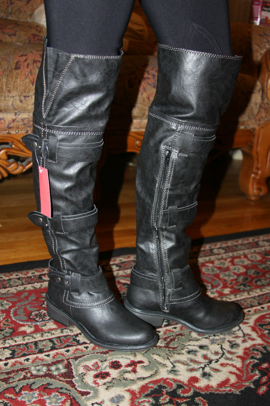 AMERICAN RAG DUKEE OVER THE KNEE BLACK BOOTS SIZE 6M