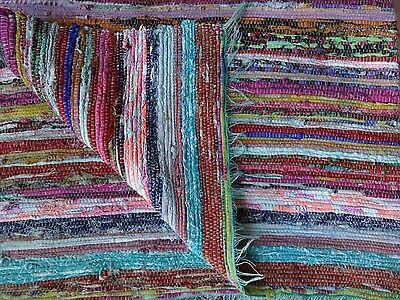 Hand Loomed Rag Rug Yoga Mat Vintage Throw Handmade Saree Chindi Dhurrie Carpet