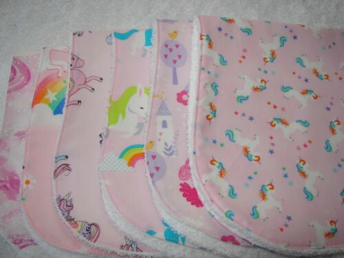 Pack of 6 Burp Cloths Unicorns Pink Handmade