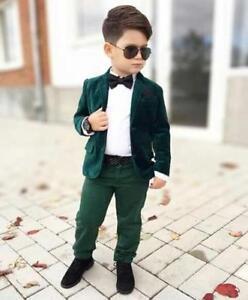 half off 3181e 0acc7 Image is loading Bespoke-Green-Velvet-Boy-Proms-Suit-Ceremony-Formal-