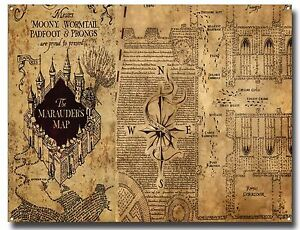 Harry Potter Map Of England.The Marauders Map Metal Sign Poster Harry Potter Hogwarts School