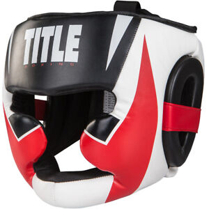 Title Boxing Command Lightweight Full-Face Training Headgear - Black/White/Red