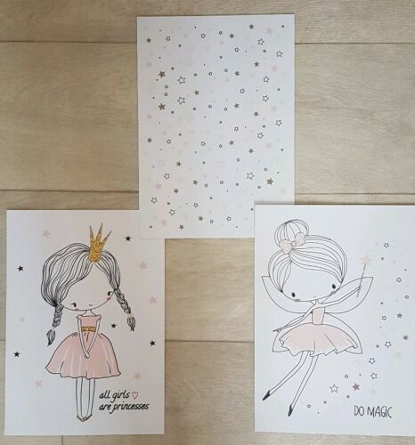 3 X Timalo® Picture Posters for Nursery Decoration Girls Bedroom Fairy Princess