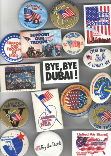 17 old PATRIOTIC pin DESERT STORM Theme pinback VETERANS Hostages 911 etc