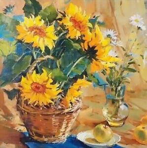 CHOP1021 100% hand painted basket of sunflowers oil painting art on canvas