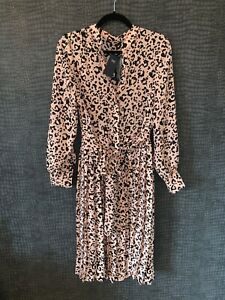 New With Tags Marks Spencers Animal Pleated Holly Dress Uk 12 Pink Black Ebay