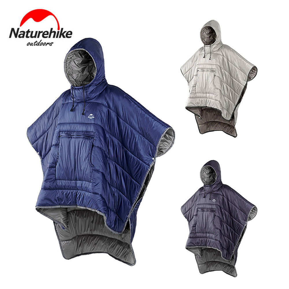 Camping Quilt Warm Poncho Cloak with Hood Functional Coat Self Driving Sleeping