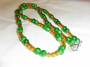 Handmade Ladies Jewellery Yellow amp Green Crackle Glass Beads Necklace  24inch - Bury St Edmunds, Suffolk, United Kingdom - Handmade Ladies Jewellery Yellow amp Green Crackle Glass Beads Necklace  24inch - Bury St Edmunds, Suffolk, United Kingdom