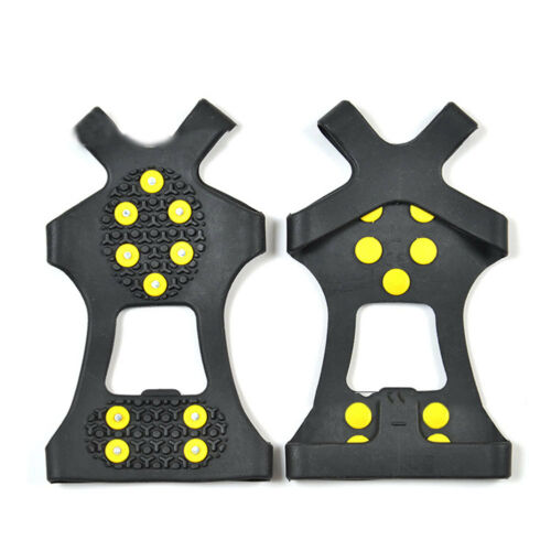 Pro Crampons Hiking Ice Snow Non-Slip Spikes Grippers Cleats For Shoes Boots 2Pc