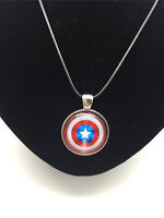 Vintage Captain America Shield Cabochon Glass Silver Pendant Leather Necklace #4