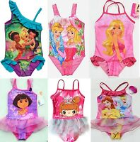 Girls Kids Princess Barbie Fairy Pink Swimsuit Swimwear Bathing Swimming SZ2-9Y