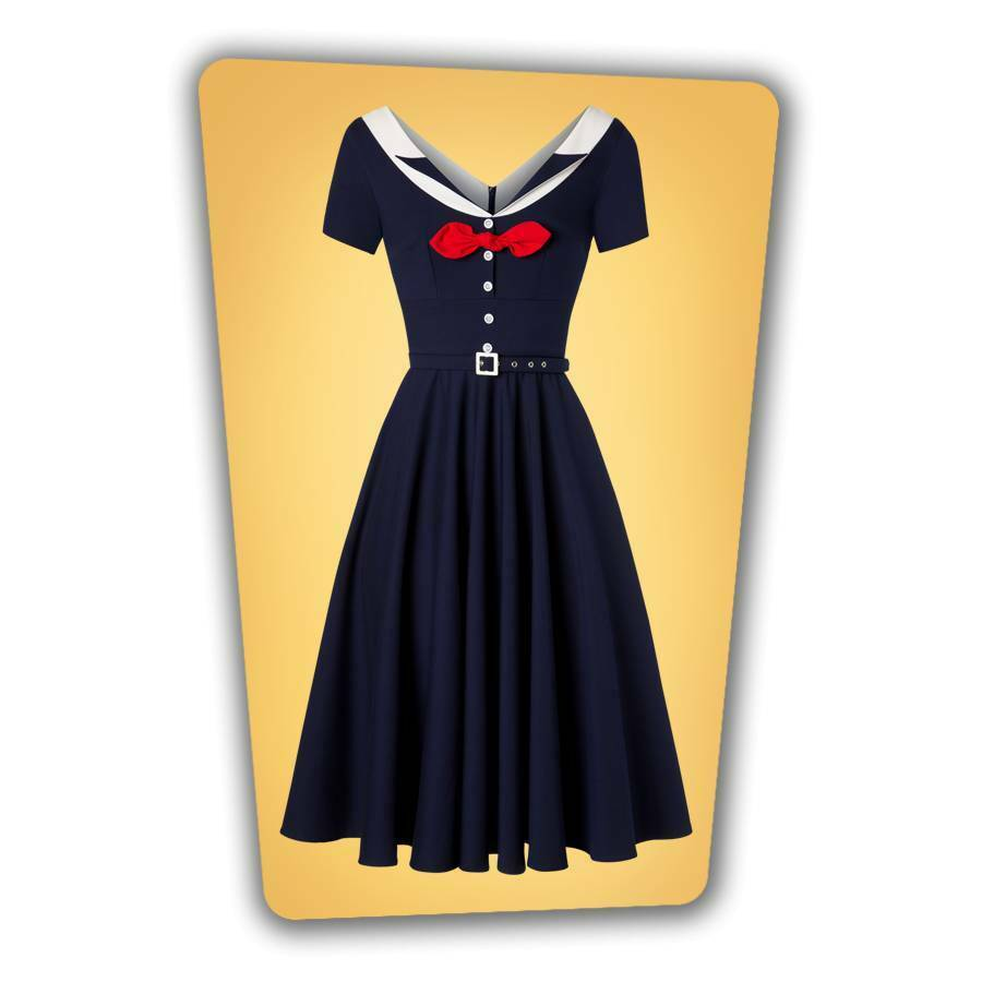 NEW GLAMOUR BUNNY 50'S AUDREY SWING DRESS NAVY SMALL