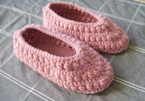 Handmade Crocheted Women's Pink Ballet Slippers Fits Sizes 5.5 to 6.5