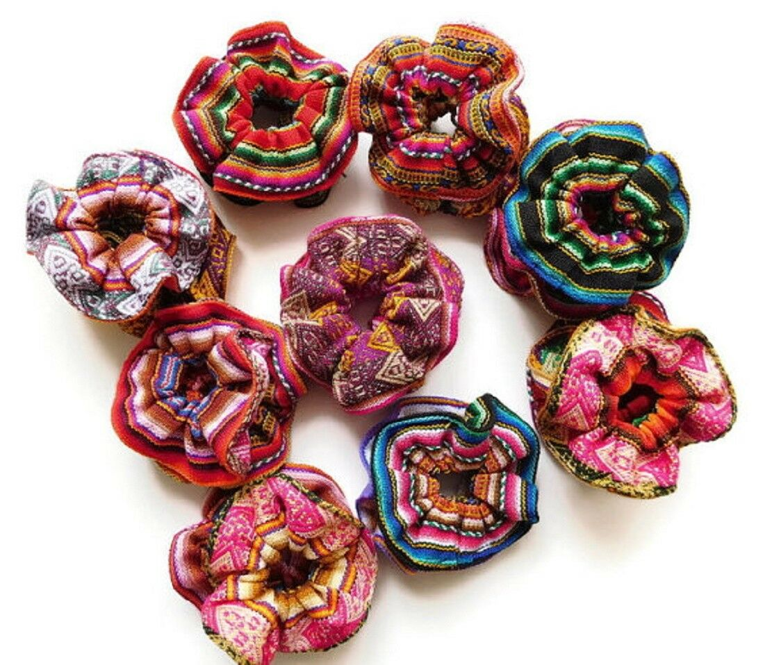Flower Hair Tie Scrunchies 12 Pack Wholesale Colorful Pony Tail Band Peru Lot