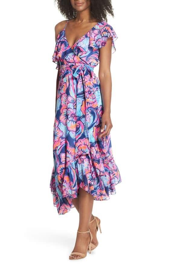 NWT Lilly Pulitzer Marianna Wrap Dress Nauty Navy Boho Bateau XXS