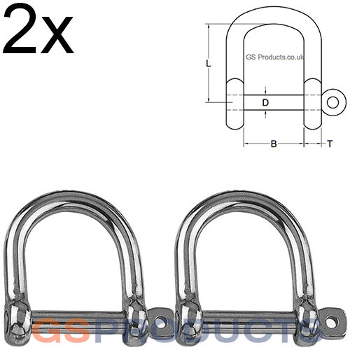 D Shackle, Marine Shackle 2x 12mm Wide Jaw Dee Shackle Stainless Steel
