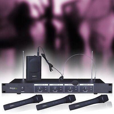 Profi Karaoke Funkmikrofon Set 4-Kanal Empfänger DJ Funk Mikrofon Headset System