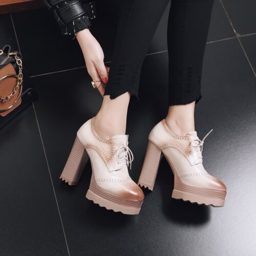 Women Retro Lace Up Round Toe Platform High Block Heels Casual Oxfords Shoes