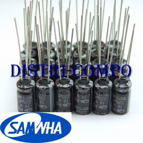 Condensateur chimique radial 16V valeur au choix 105° Samwha